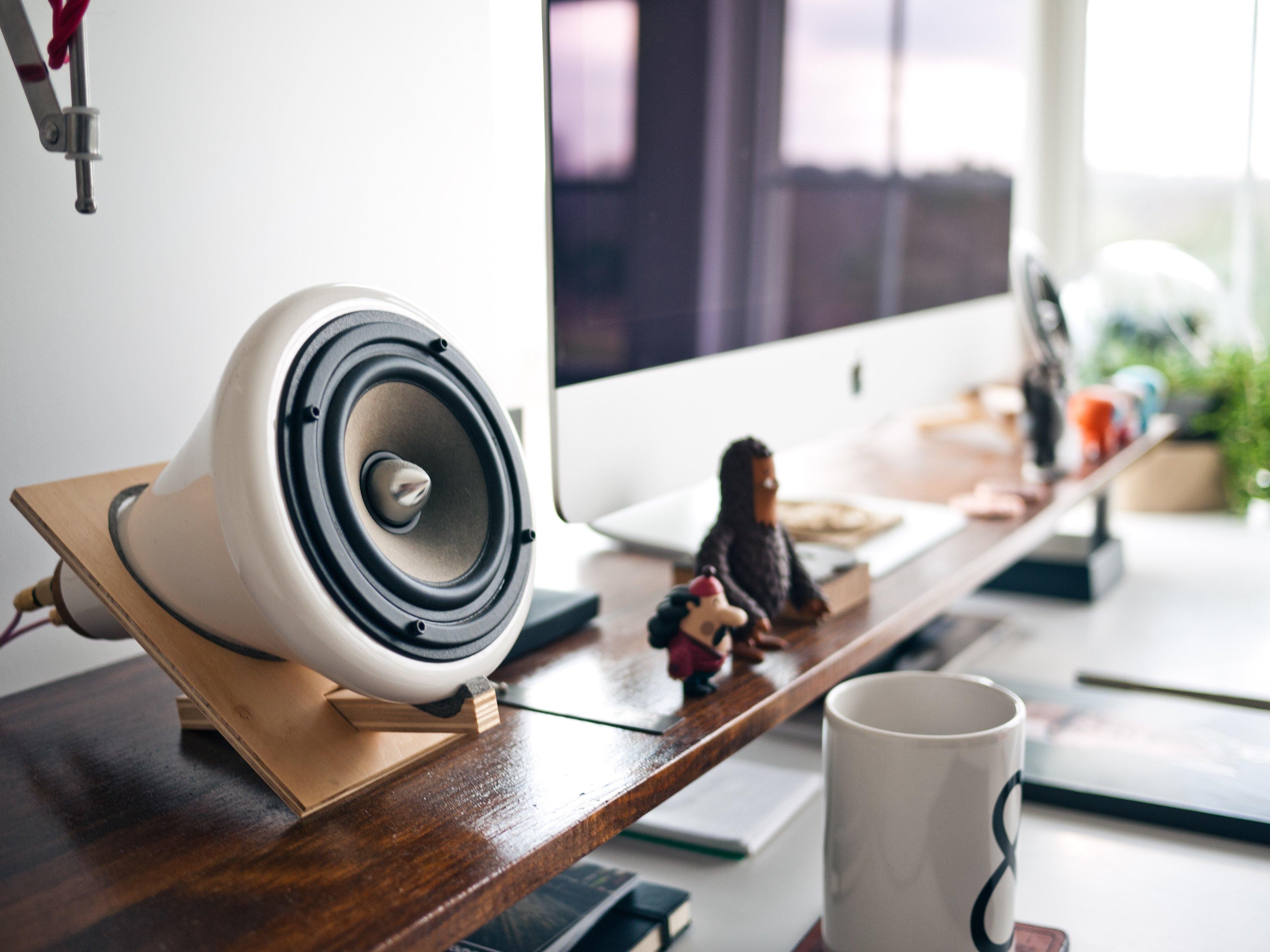 Speaker in living room for podcasts