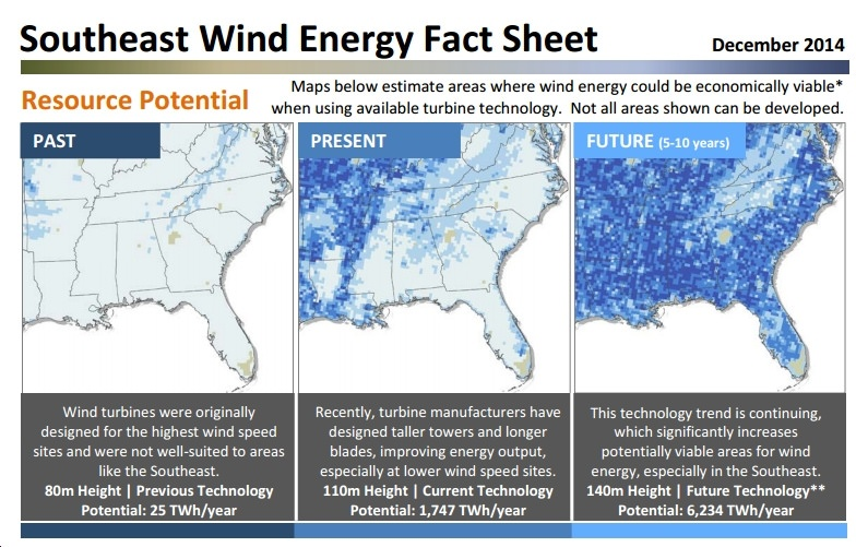 New Fact Sheet Illustrates Southeastern U.S.' Enormous Wind Power Potential