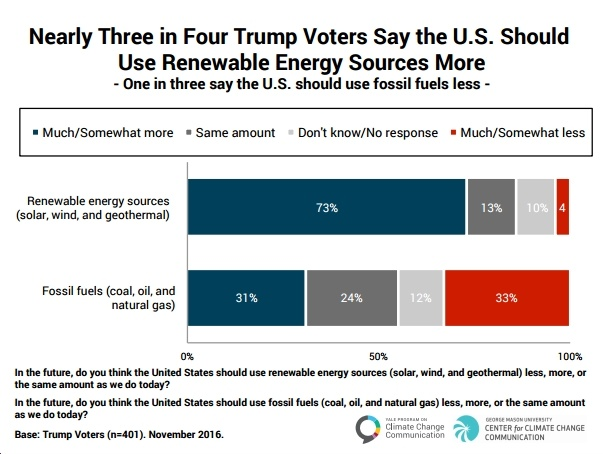 Survey Finds Trump Voters Strongly Support a Transition to Clean Energy